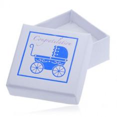 Cutiuță albă de cadou pentru bijuterii - cărucior albastru pentru copil