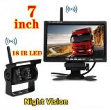 "Kit marsarier wireless cu camera si display de 7"" 12V~24V, K611W pentru Camioane, Autocare, Bus-uri"