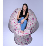 Set Fotoliu Puf King Size + Otoman - Flower Buds (Gama Premium) umplut cu fulgi de burete memory mix®