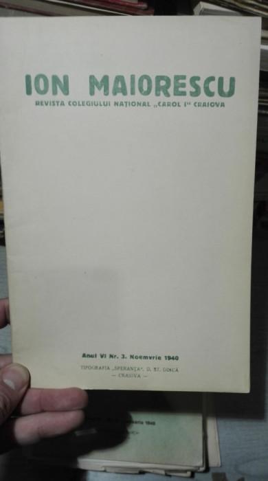 Ion Maiorescu – Revista Colegiului national Carol I Craiova – nov 1940