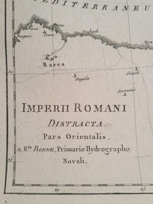 Lot 2 harti ale Imperiului Roman (de Apus si de Rasarit), tiparite in 1787