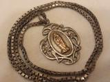 MEDALION argint FECIOARA MARIA art nouveau FRANTA 1900 rar SUPERB pe Lant Argint