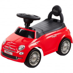 Masinuta fara pedale, cu spatar, volan cu sunete Fiat 500 - Sun Baby - Rosu