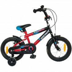Bicicleta copii 14 FIVE Lucario cadru otel culoare negru rosu roti ajutatoare varsta 3 5 ani