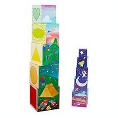 Construieste turn din cuburi set educativ indemanare creativitate