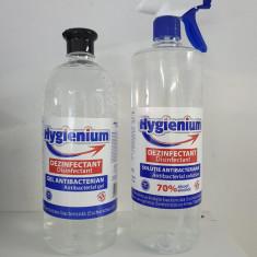 Set 1 Gel 1000ml + 1 Solutie 1000ml Antibacteriana Dezinfectanta Hygienium Avizat de Ministerul Sanatatii in stoc