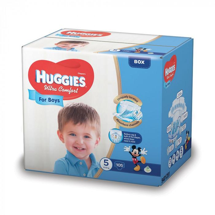 Scutece Huggies Ultra Confort Box, Numarul 5, pentru baieti, 105 bucati, 12-22 kg EVO