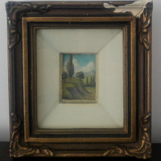 Peisaj de vara// ulei pe carton, miniatura