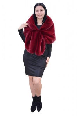 Bolero Samira din blana sintetica,model tip capa, nuanta marsala foto