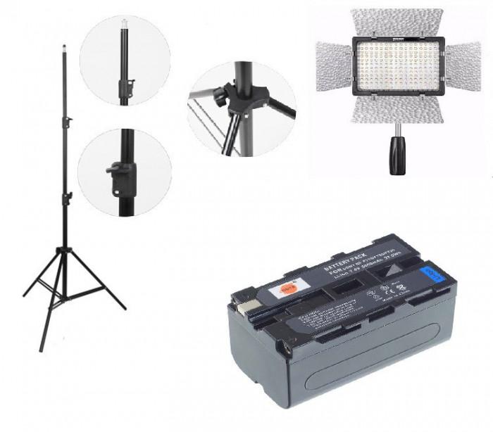 Kit lumina continua Lampa Yongnuo YN160 III+ Acumulator NP F+ incarcator+ stativ