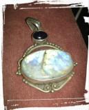 unic! pandantiv argint 925 anticcu ametist  natural si piatra lunii!!