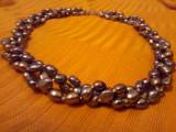 Colier 3 randuri perle naturale, negre