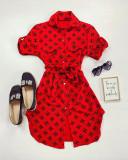 Cumpara ieftin Rochie ieftina casual stil camasa rosie si neagra cu cc si cordon in talie