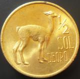 Moneda exotica 1/2 SOL DE ORO - PERU, anul 1974  *cod 3371 = A.UNC, America Centrala si de Sud