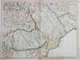 HARTA FIZICA A MOLDOVEI , VALAHIEI , TRANSILVANIEI , CU PARTI DIN BULGARIA , UNGARIA SI POLONIA ,GRAVURA COLORATA , DENUMIRILE IN LIMBA FRANCEZA , a