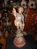 Antica sculptura sec 19 statueta din antimoniu aurit