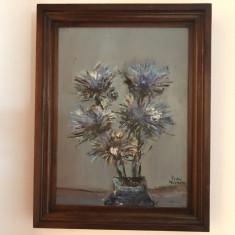 Tablou vechi francez,ulei pe placaj,vaza cu flori