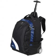 Rucsac troler pentru Laptop 15.5 inch, Everestus, WY, 600D poliester, negru, albastru, saculet si eticheta bagaj incluse