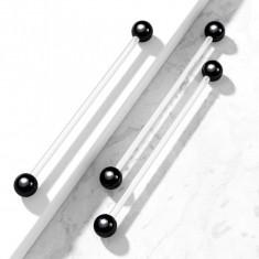 Cumpara ieftin Body piercing flexibil, cu bile negre din titan