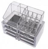 PRODUS RESIGILAT, AMBALAJ DETERIORAT - Organizator/suport pentru machiaj, cu sertare, transparent - 7680