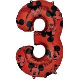 Cumpara ieftin Balon Folie Figurina Mickey Mouse Forever Cifra 3 rosu- 66 cm, Amscan 40133, 1 buc