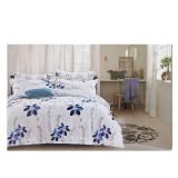 Lenjerie pat dublă, bumbac satinat, 4 piese, model Blue Flower
