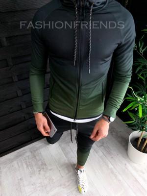 Trening barbati KAKI in DEGRADE PREMIUM - Bluza + Pantaloni - A2632 foto