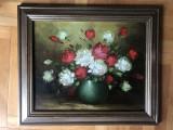 Tablou,pictura in ulei pe panza,vaza cu trandafiri,semnat, Flori, Altul