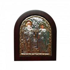 Icoana argintata Sfintii Ciprian si Iustina 11x13 cm Cod Produs 2737
