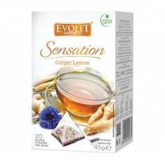 Ceai cu lamaie si ghimbir (Ginger Lemon) Evolet Sensation piramida 20 plicuri
