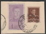 1942 Romania, Fiscal Mihai 1 leu pe fragment de plic circulat postal