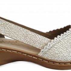 Pantofi dama casual din piele Rieker 413X9 alb