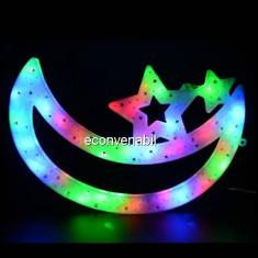Decoratiune Luminoasa de Craciun Semiluna cu LEDuri Multicolore