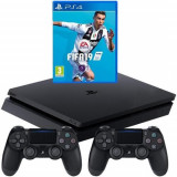 Consola SONY PlayStation 4 Slim 500GB, negru + FIFA 19 + Extracontroller