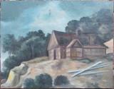 Cabana la munte - nesemnat, Peisaje, Ulei, Altul