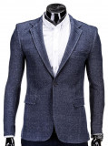 Sacou pentru barbati, bleumarin, casual, slim fit, cu buzunare aplicate, elegant, inchidere un nasture - M59