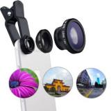 Cumpara ieftin Set Lentile Profesionale 3in1 pentru Telefon sau Tableta 180 Fisheye 10X Macro Lens 0.65X Wide Angle