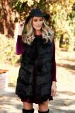 Vesta SunShine neagra cu croi larg din blana ecologica captusit pe interior cu buzunare