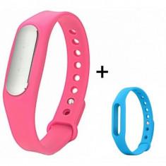 Bratara fitness iUni Mi1 Roz + Curea de schimb Albastru