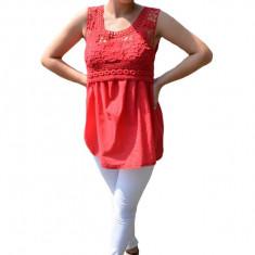 Bluza Jane, tip maiou casual, cu broderie dantelata, nuanta de rosu, 36, 38, 40, 42, 44