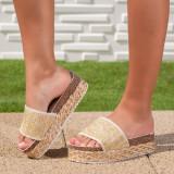 Papuci dama cu talpa inalta bej Tugarsia