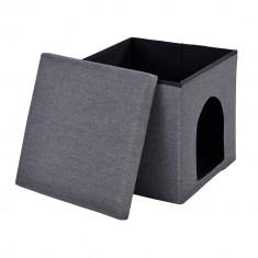 Scaun suport pentru picioare, Puff, - rabatabil cu compartiment pentru depozitare si vizuina pentru animalele mici (catei si pisici) 38x38cm gri