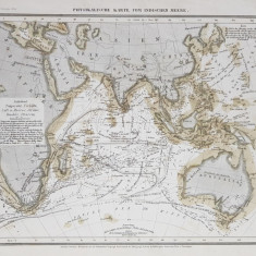 HARTA FIZICA A OCEANULUI INDIAN , EXPLICATII SI NOTATII IN LIMBA GERMANA , MIJLOCUL SEC . XIX