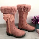Cizme inalte lungi roz cu fundita imblanite de iarna pt fete copii 34 35