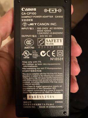 Alimentator Canon CA-CP100 24V , 2A , pt imprimante foto Canon foto
