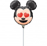 Balon mini figurina Mickey Mouse - 24 cm, umflat + bat si rozeta, Amscan 36362