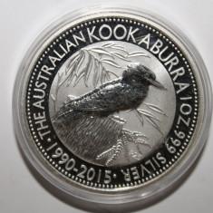 AUSTRALIA 1 DOLLAR 2015 KOOKABURRA . O UNCIE ARGINT 0.999 . PROOF ., Australia si Oceania