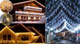 Cumpara ieftin Perdea luminoasa turturi inegali de exterior, instalatii luminoase exterior cu flash, 7 m lungime, iluminat festiv stradal Craciun/case/hoteluri