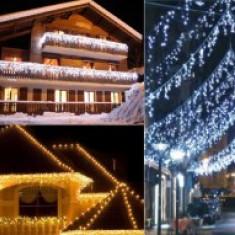 Perdea luminoasa turturi inegali de exterior, instalatii luminoase exterior turturi cu flash, 7 m lungime, iluminat festiv stradal Craciun/case/hotel
