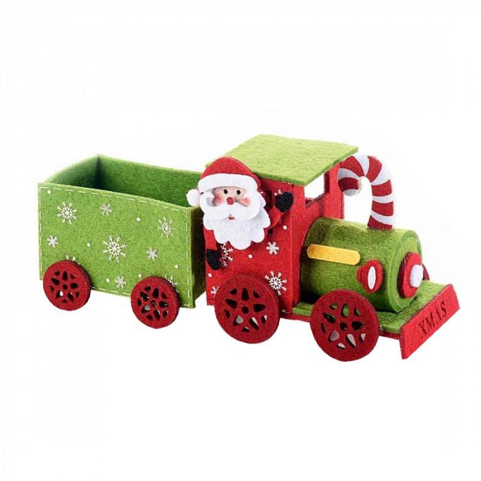 Trenulet decor Craciun textil verde rosu cm 22 x 8 x 9 H Elegant DecoLux